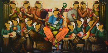 contemporary Acrylic Art Painting title 'Musical band 10' by artist Anupam Pal