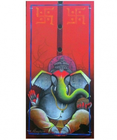 Abstract Acrylic Art Painting title 'Ganesha' by artist Anupam Pal