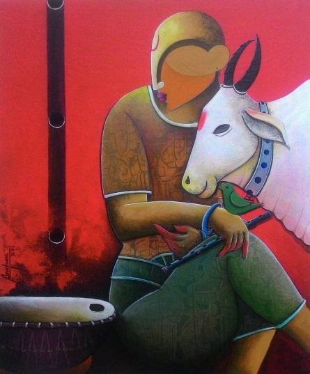 Abstract Acrylic Art Painting title A beutifull conversation by artist Anupam