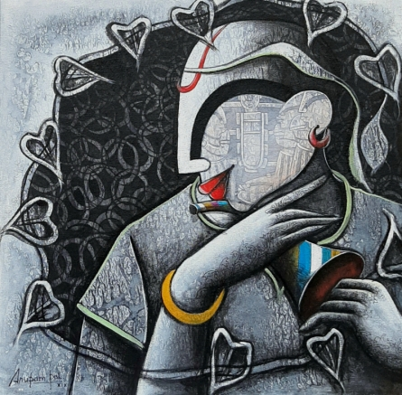 contemporary Acrylic Art Painting title 'Tunes of devotion' by artist Anupam Pal