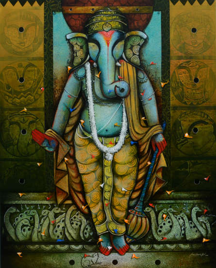 contemporary Acrylic Art Painting title 'Ganesha 21' by artist Anupam Pal