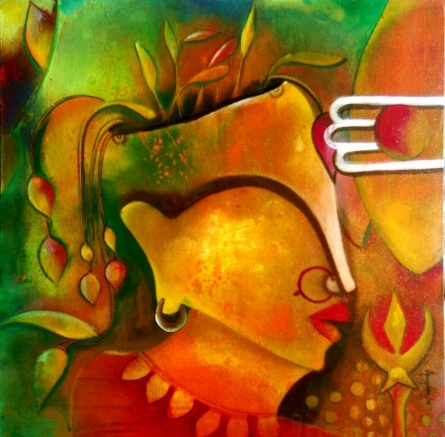 Abstract Acrylic Art Painting title '3rd Eye' by artist Anupam Pal
