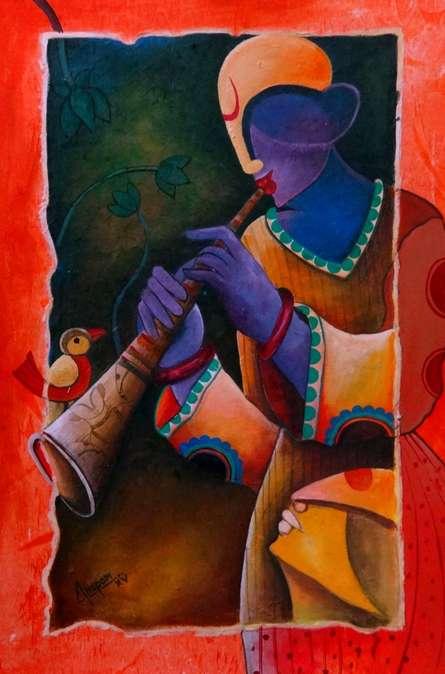 Figurative Acrylic Art Painting title 'Rhythm divine 3' by artist Anupam Pal