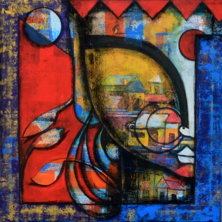 contemporary Mixed-media Art Painting title Floral beauty by artist Anupam Pal