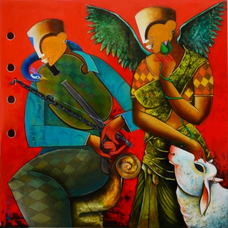 Anupam Pal | Acrylic Painting title Wondrous Beauty on canvas | Artist Anupam Pal Gallery | ArtZolo.com