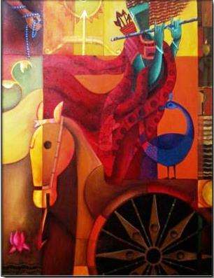 Anupam Pal | Acrylic Painting title Parthasarthi charector of arjuna on Canvas | Artist Anupam Pal Gallery | ArtZolo.com