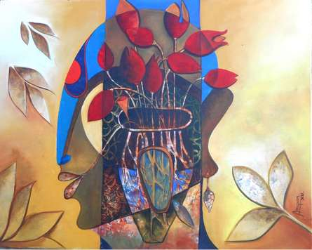 Anupam Pal | Acrylic Painting title A Blossoming Mind on Canvas | Artist Anupam Pal Gallery | ArtZolo.com