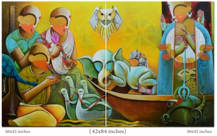contemporary Acrylic Art Painting title 'Agomoni' by artist Anupam Pal