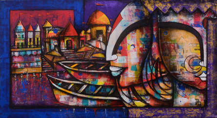 contemporary Acrylic-charcoal Art Painting title Banaras Ghat 3 by artist Anupam Pal