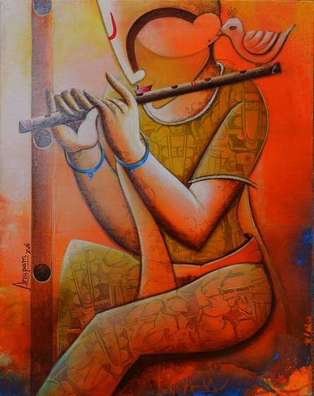 Music Acrylic Art Painting title 'The Cupid Flute' by artist Anupam Pal