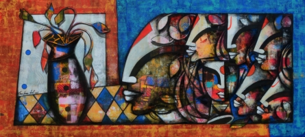 contemporary Mixed-media Art Painting title Blossoming Mind 13 by artist Anupam Pal