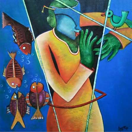 Anupam Pal | Acrylic Painting title Conversatation 6 on Canvas | Artist Anupam Pal Gallery | ArtZolo.com