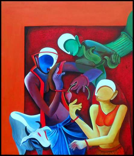 Figurative Acrylic Art Painting title Conversation2 By Anupam Pal by artist Anupam Pal