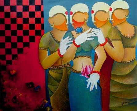 Figurative Acrylic Art Painting title 'Conversation 10' by artist Anupam Pal