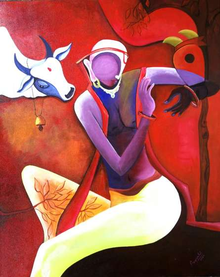 Convertation 2 | Painting by artist Anupam Pal | acrylic | Canvas