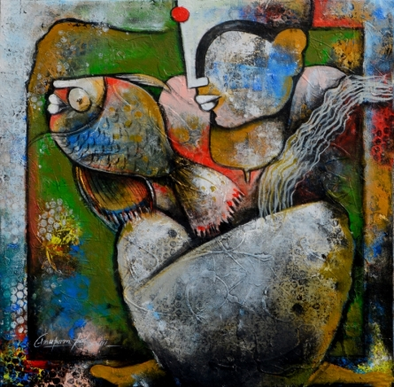 Anupam Pal | Acrylic Painting title Women with fish on canvas | Artist Anupam Pal Gallery | ArtZolo.com
