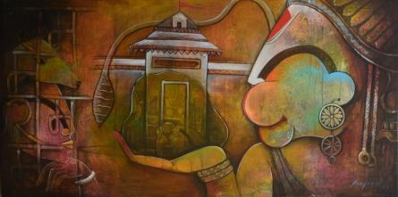 Anupam Pal | Hanuman Mixed media by artist Anupam Pal on canvas | ArtZolo.com