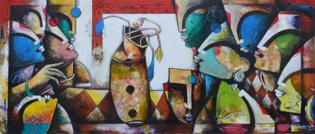 contemporary Acrylic Art Painting title 'Eternal Bonding' by artist Anupam Pal