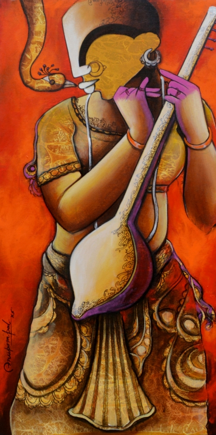 contemporary Acrylic Art Painting title 'Element of Devotion' by artist Anupam Pal