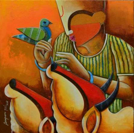 Bovine frandship | Painting by artist Anupam Pal | acrylic | canvas