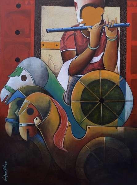 Anupam Pal | Acrylic Painting title Parthasarathi 12 on canvas | Artist Anupam Pal Gallery | ArtZolo.com