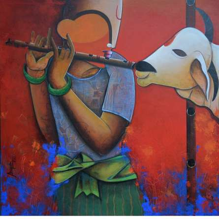 Figurative Acrylic Art Painting title 'Flute of Life' by artist Anupam Pal