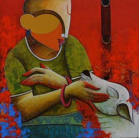 Figurative Acrylic Art Painting title 'Vrhythmic conversation 3' by artist Anupam Pal