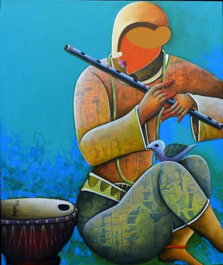 Rhythmic conversation 21 | Painting by artist Anupam Pal | mixed-media | canvas