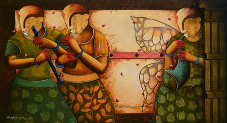 contemporary Acrylic Art Painting title RHYTHMIC CONVERSATION 35 by artist Anupam Pal