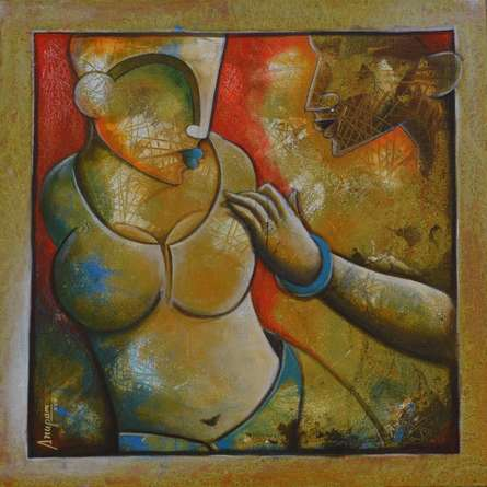 Figurative Mixed-media Art Painting title 'Untitled' by artist Anupam Pal
