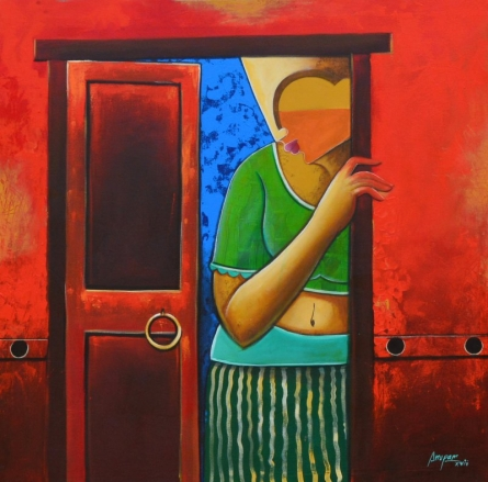 Figurative Acrylic Art Painting title 'Untitled' by artist Anupam Pal