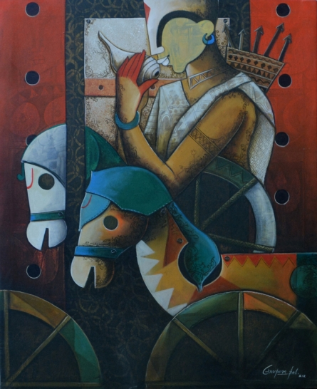 contemporary Acrylic Art Painting title 'Parthasarathi 16' by artist Anupam Pal