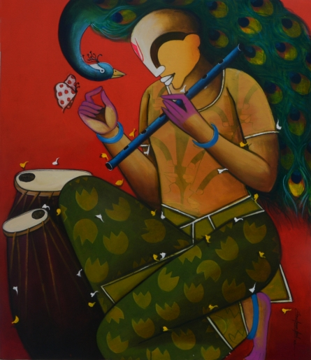 contemporary Acrylic Art Painting title Mesmerizing tunes 12 by artist Anupam Pal