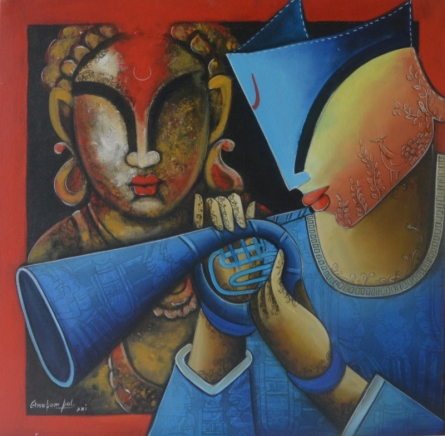 #acrylic #canvas #figurative #friends #love #fondness #redbackground