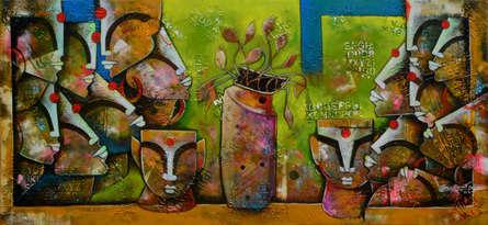 Anupam Pal | Mixed-media Painting title Eternal Bonding 4 on Canvas | Artist Anupam Pal Gallery | ArtZolo.com