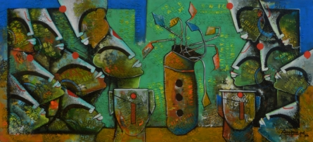 Anupam Pal | Mixed-media Painting title Eterrnal Bonding 7 on Canvas | Artist Anupam Pal Gallery | ArtZolo.com