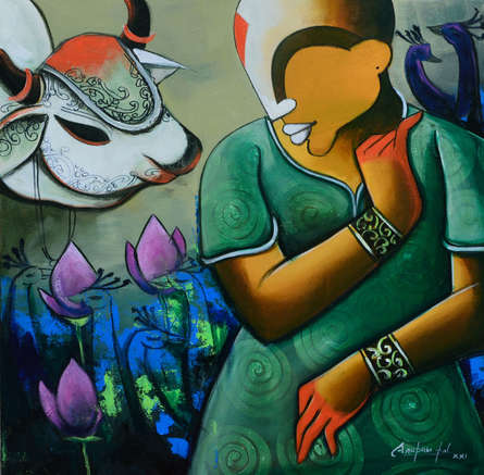 contemporary Acrylic Art Painting title Conversation 41 by artist Anupam Pal
