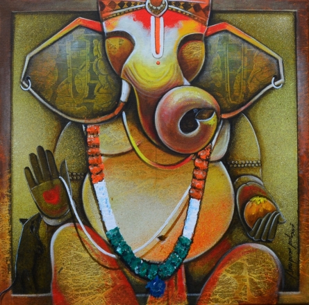 contemporary Acrylic Art Painting title 'Gampati Bappa' by artist Anupam Pal