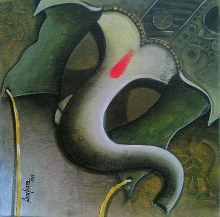 Ganesha 2 | Painting by artist Anupam Pal | acrylic | Canvas