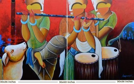 contemporary Acrylic Art Painting title 'Rhythmic conversation' by artist Anupam Pal