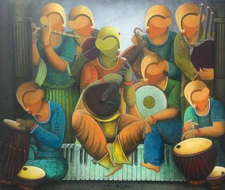 Musical band | Painting by artist Anupam Pal | acrylic | Canvas