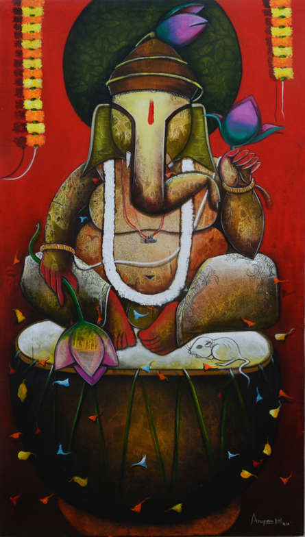 contemporary Acrylic Art Painting title 'Shree ganesha' by artist Anupam Pal
