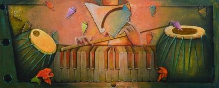 Abstract Acrylic Art Painting title Rang barse by artist Anupam Pal