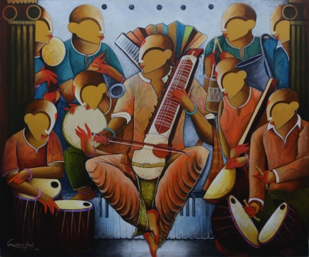contemporary Acrylic Art Painting title 'The Musical Band 5' by artist Anupam Pal