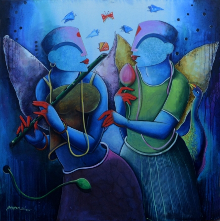 contemporary Acrylic Art Painting title 'The Melody Of Purple' by artist Anupam Pal