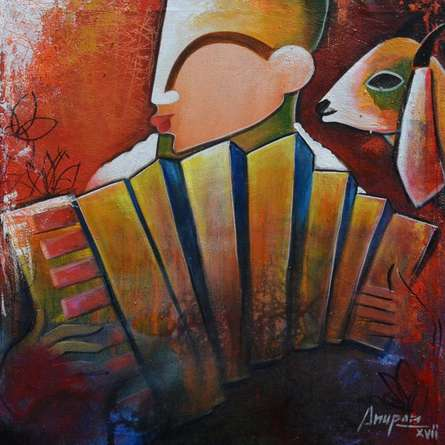 Bovine friendship | Painting by artist Anupam Pal | acrylic | canvas