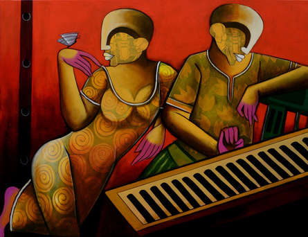 contemporary Acrylic Art Painting title Rhythmic Reverberations 5 by artist Anupam Pal
