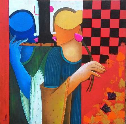 Figurative Acrylic Art Painting title 'Music To My Sorrow2' by artist Anupam Pal