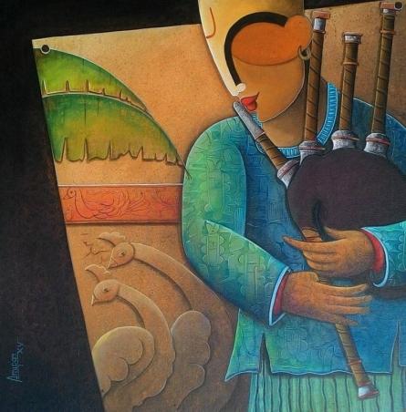 Figurative Acrylic Art Painting title 'Rhythm Devine 16' by artist Anupam Pal