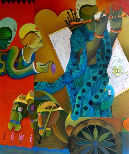 Figurative Acrylic Art Painting title 'Parthasarathi (the creator of arjuna)' by artist Anupam Pal